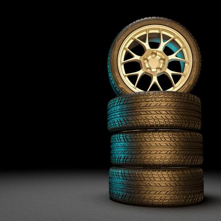 3D-afbeelding van ongebruikte autobanden