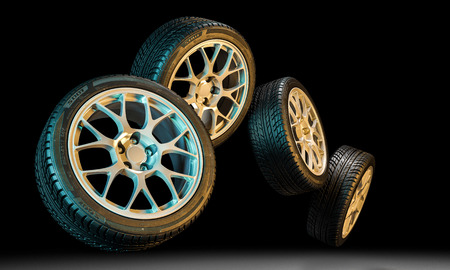 3d image of unused car tires Stockfoto - 109729552