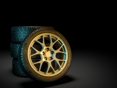 3d image of unused car tires Stockfoto - 109729553