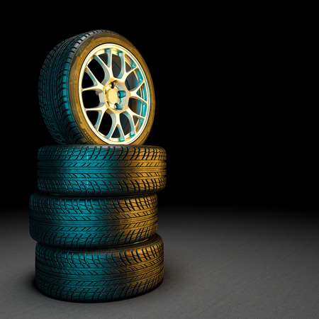 3d image of unused car tires Stockfoto - 109729551