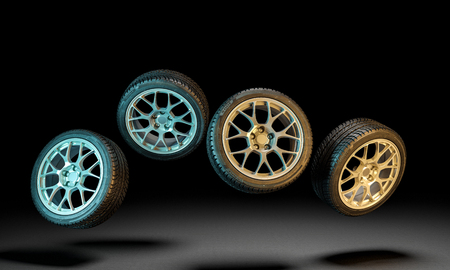 3d image of unused car tires Stockfoto - 109729550