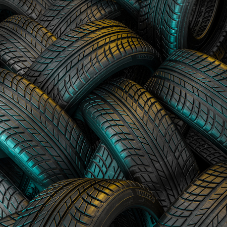 3d image of unused car tires Stockfoto - 109729524