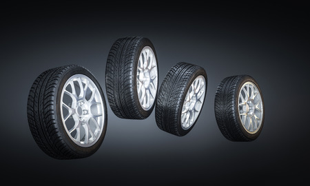 3d image of unused car tires Stockfoto - 109729529