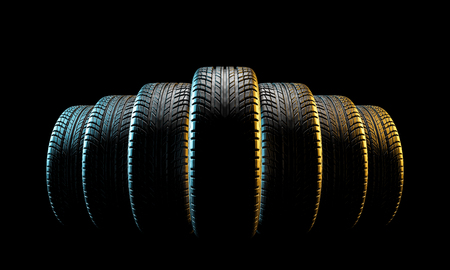 3d image of unused car tires Stockfoto - 109729530