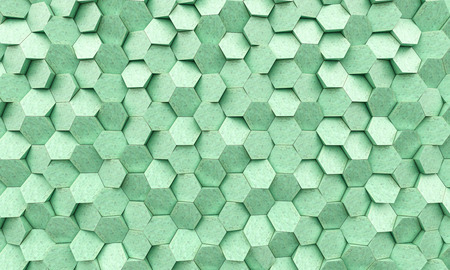 Oxidized copper geometric hexagon background 3d rendering image