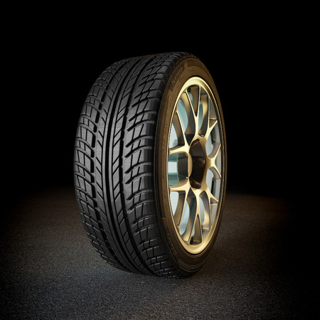 Tire with golden rim 3d rendering image