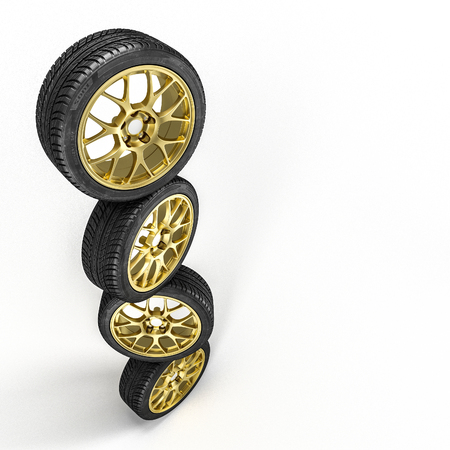 Car tires background 3d rendering image