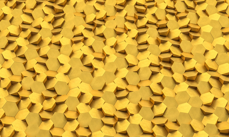 Golden geometric hexagon background 3d rendering image