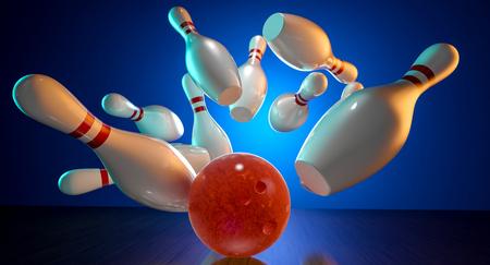 3d rendering image of bowling action Banco de Imagens
