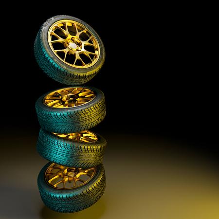 Banden met gouden velgen 3D-rendering beeld