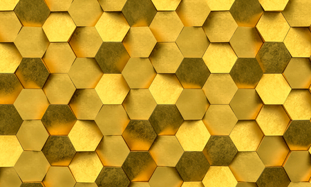Detail of golden geometric background 3d rendering image