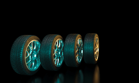 3d image of unused car tires Stockfoto - 116193062