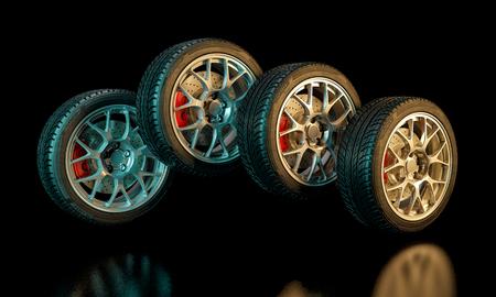 3D-afbeelding van ongebruikte autobanden Stockfoto