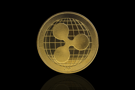 ripple  cryptocurrency coin on black background