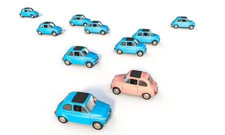 blue and pink old car 3d rendering image Stock Photo