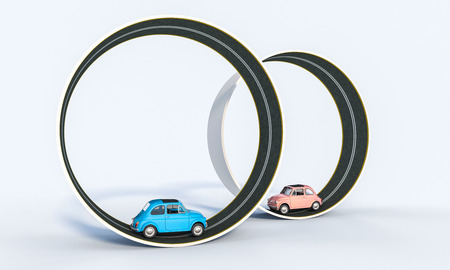 blue and pink car in circle road 3d rendering image