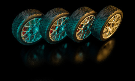3d image of unused car tires