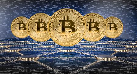 concept of blockchain 3d rendering image