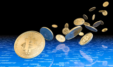 3d rendering image of golden bitcoin coin and binary code background