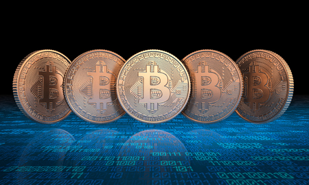 golden 3d rendering bitcoin coin and binary code background