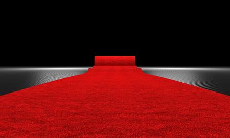 Immagine di rendering 3D di tappeto rosso e sfondo in fibra di carbonio
