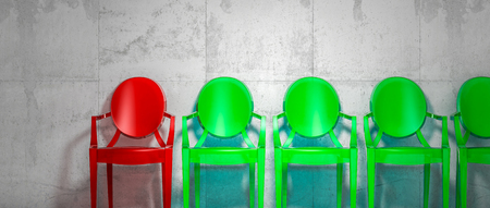plastic chairs, individuality concept 3d render