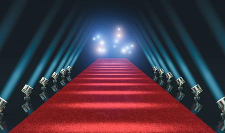 red carpet and lights 3d rendering image Stok Fotoğraf