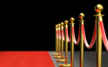 3d render background image of classic red carpet with barrier 免版税图像