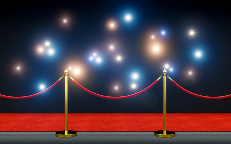 red carpet and paparazzi flash 3d rendering image