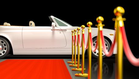 3d rendering of red carpet with barrier and luxury car