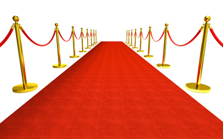 isolated red carpet with barrier 3d rendering image