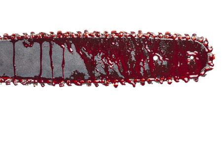 bloody chainsaw isolated on white Stock Photo