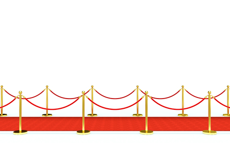 golden barrier and red carpet 3d rendering image Stock Photo