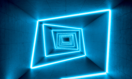 blue neon lights in concrete tunnel, 3d rendering image