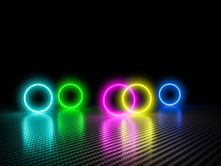 colorful glowing cirlce on carbon fiber background 3d rendering image Stock Photo