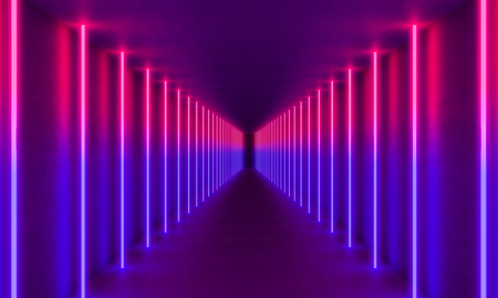 colorful neon light in concrete tunnel, 3d rendering image