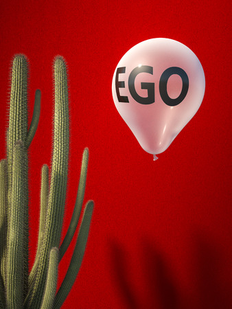 ego balloon and catus, crisis concept 3d rendering image