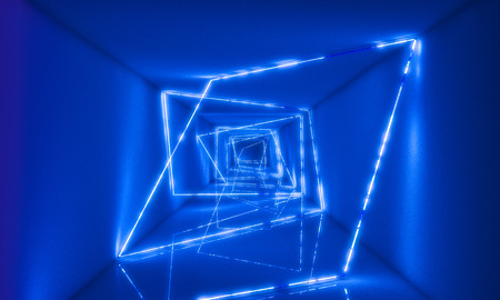 3d rendering image of abstract neon light in concrete tunnel