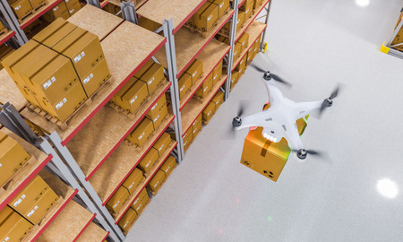 drones work in warehouse 3d rendering image Stock Photo