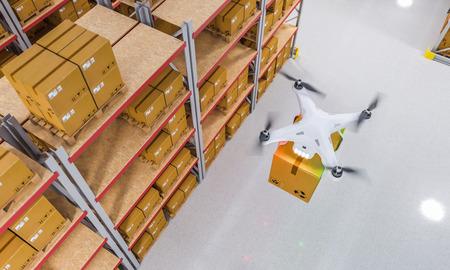 Les drones travaillent dans l'image de rendu 3D de l'entrepôt