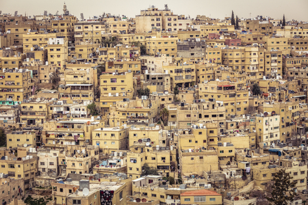 Amman, Jordan, view of the old city, a large complex of decaying buildings overlooking the citadel located on Jabal Al Qal'a.