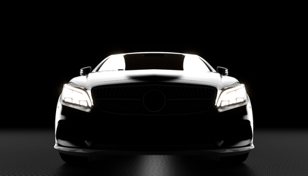 luxury car with headlights lit in the darkness, 3d model rendered on carbon fiber background. Banco de Imagens