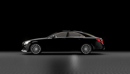 Rendu d'image 3D d'une voiture de luxe sport noire avec des phares allumés sur fond de fibre de carbone. Vue de côté. Banque d'images