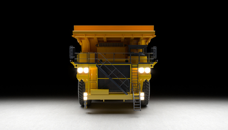 3d render image of a huge yellow quarry truck with lighted headlights and on a concrete background. Front  view.
