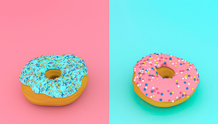 3d rendered image of two donuts on a blue and pink background. Stok Fotoğraf
