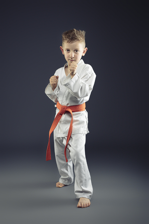 portrait of a child with kimono practicing martial arts, orange belt Stok Fotoğraf