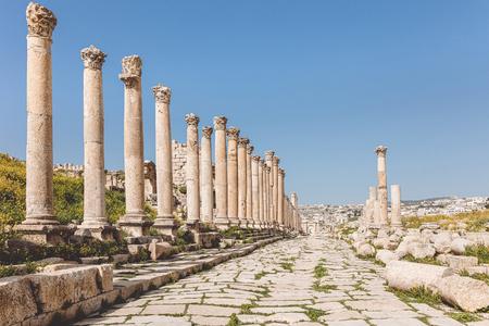 ancient street with columns in the citadel of Amman, Jordan.