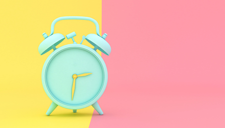 stylized alarm clock on a yellow and pink background, 3d render image. Stok Fotoğraf