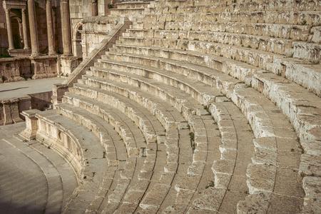 ancient amphitheater in the citadel of Amman. Jordan.