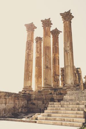 ancient columns in the citadel of Amman. Jordan. Stok Fotoğraf